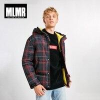 JackJones Men's Winter plaid printed warm hooded down jacket 218312534