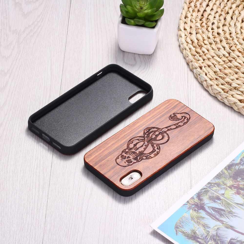 ウィザード魔法ヘビ頭蓋骨刻印木製電話ケース Coque Funda 用 iPhone 6 6S 6 プラス 7 7 プラス 8 8 プラス XR X XS 最大 11 プロマックス