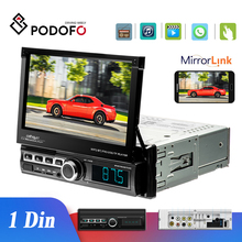 Podofo autorradio 1 Din con pantalla táctil, reproductor Multimedia para coche, Mirror Link, MP5, Bluetooth, USB, FM, AUX