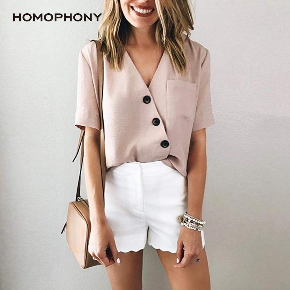 HOMOPHONY Women Blouse Office Ladies Plus Size Half Sleeve Sexy V-neck Blouse Shirt Work Blouse Tops Blusas Mujer De Moda 2020