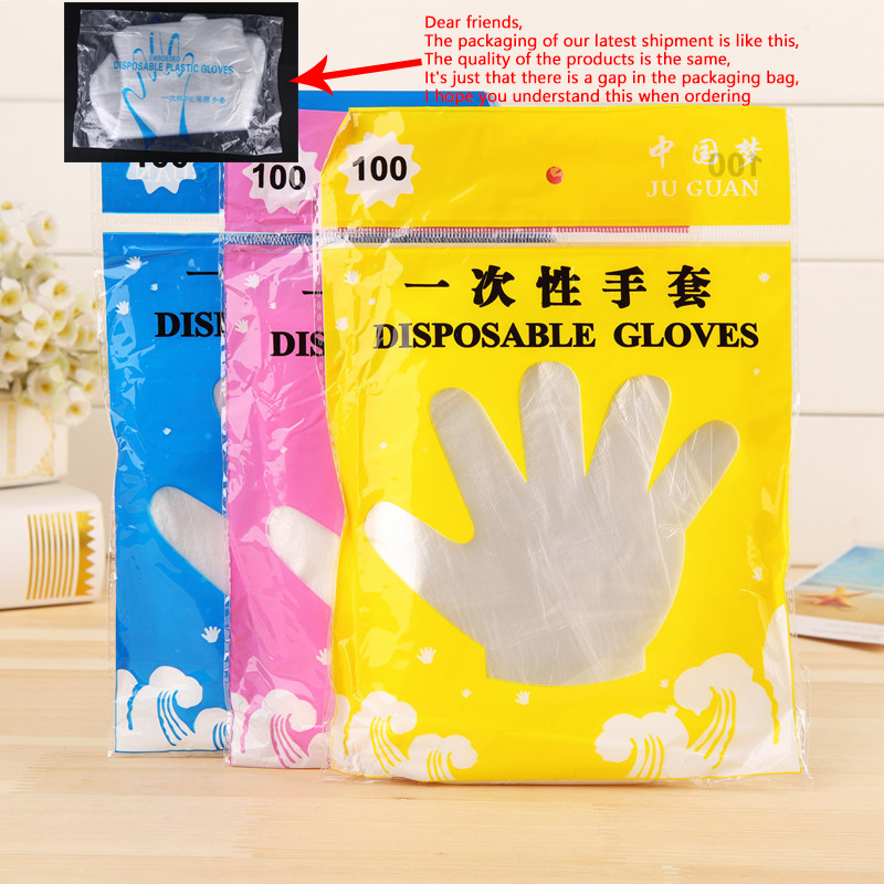 100pcs Disposable Gloves Car Wash Gloves Polyethylene Clear Plastic Disposable Gloves  Eco-friendly Service Multi-functional