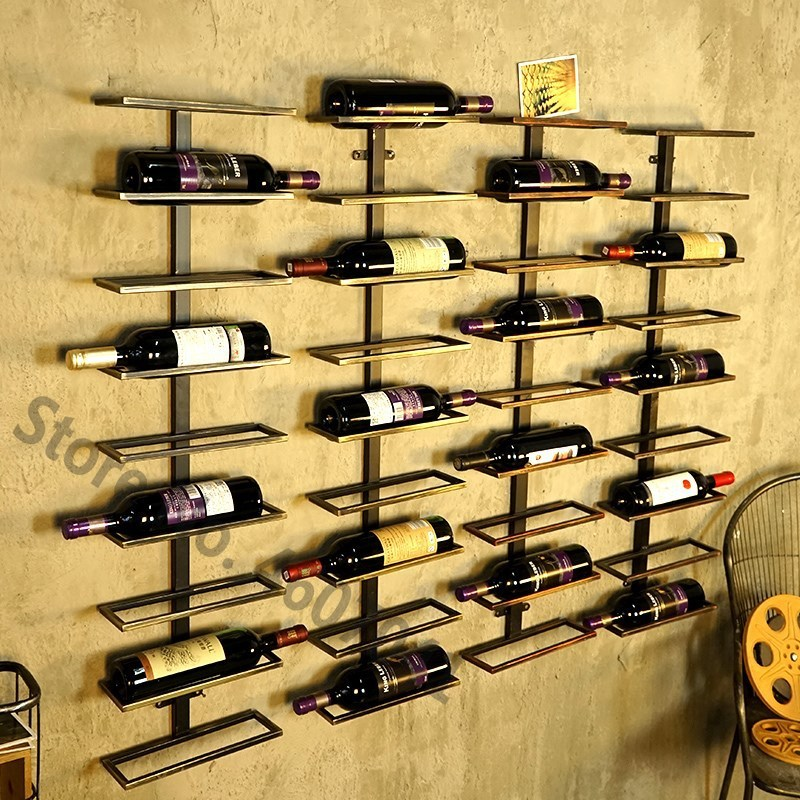 creative american style iron wine rack wall hanging wall wine cabinet bar metal wine beer bottle holder home bar decoration