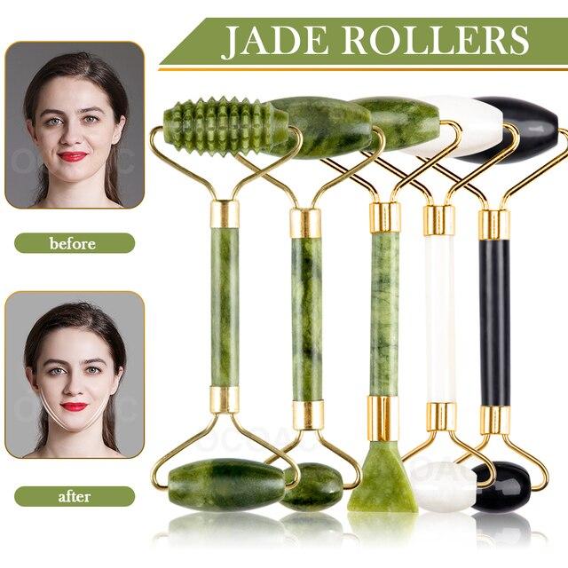 Massager para rosto jade conjunto de rolo verde facial natural gouache raspador corpo volta beleza cuidados com a pele emagrecimento massageadores rolo 1