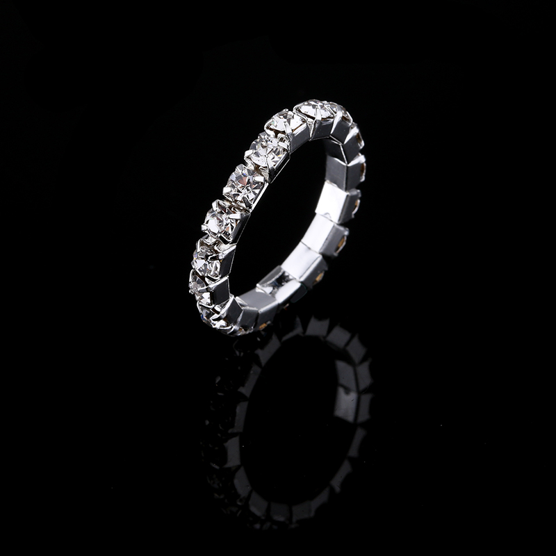 2017 Hot Sale Top Fashion Channel Setting Party Classic Jewelry Anillos Stunning Multi Row Diamante Stretch Rings For Women 1