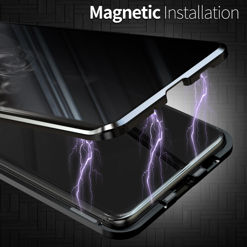 New Privacy Magnetic Case For Samsung Galaxy S20 Ultra S20 S10 S9 S8 Note 10 Plus Note 9 8 Magnet Metal Double Side Glass Case