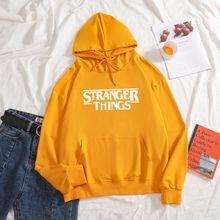 Женские толстовки с надписью «stranger things» повседневные