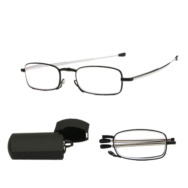 Folding Reading Glasses Mini Design Men Women Small Glasses Frame Black Metal Glasses With Box Eyewear Accessories