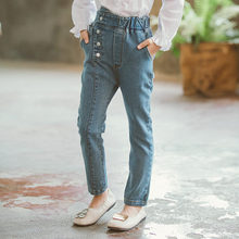 все цены на 2019 New Girls Jeans Pants Spring Fall Denim Jeans Kids Clothing Children Pants Casual Trousers Jeans For Girls Clothes 4-13Y онлайн