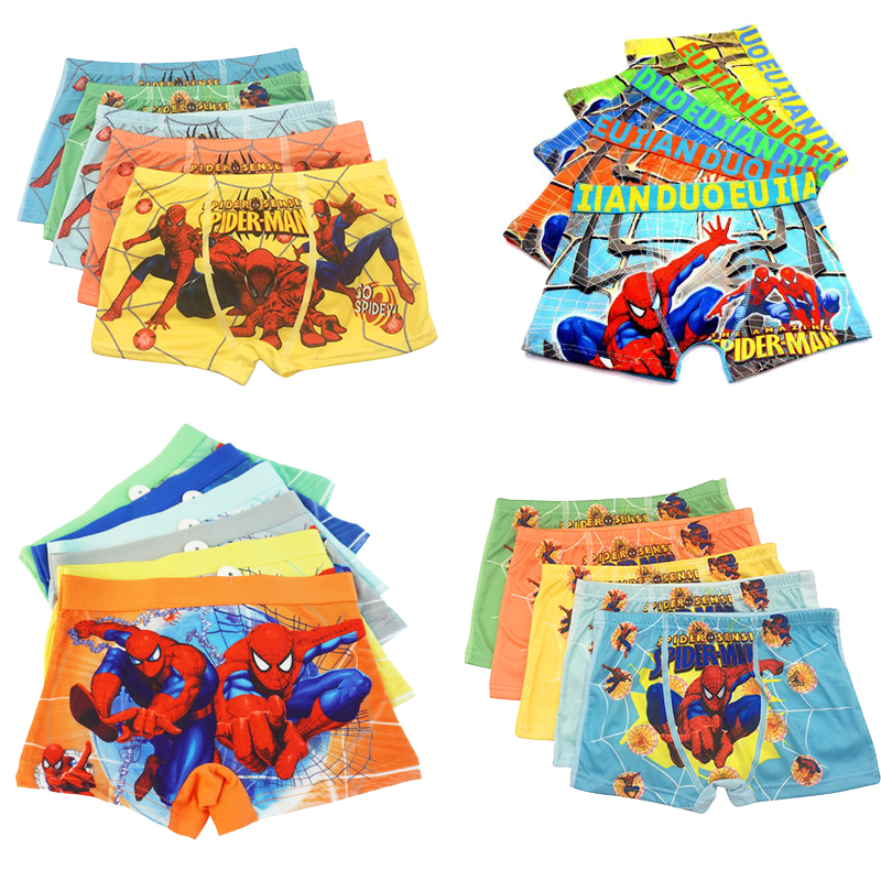 5 шт./партия, хлопковые трусы-боксеры для мальчиков, с рисунком «Человек-паук», 3-11 лет