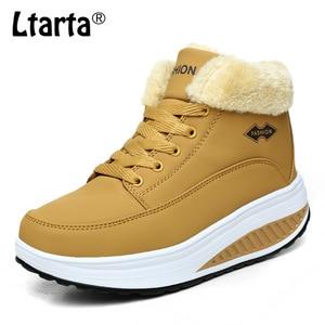 Image 2 - COWCOM wygodne jesienne zimowe bawełniane buty damskie grube dno podwyższone buty Rocker buty ciepłe damskie buty CYL