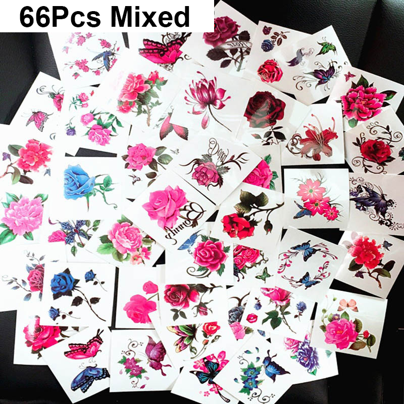 66Pcs/lot Temporary Tattoo Set Colorful Butterfly Bird Decal Flower Tattoo Sticker Female Kids Flash Tattoo Arm Shoulder Sticker