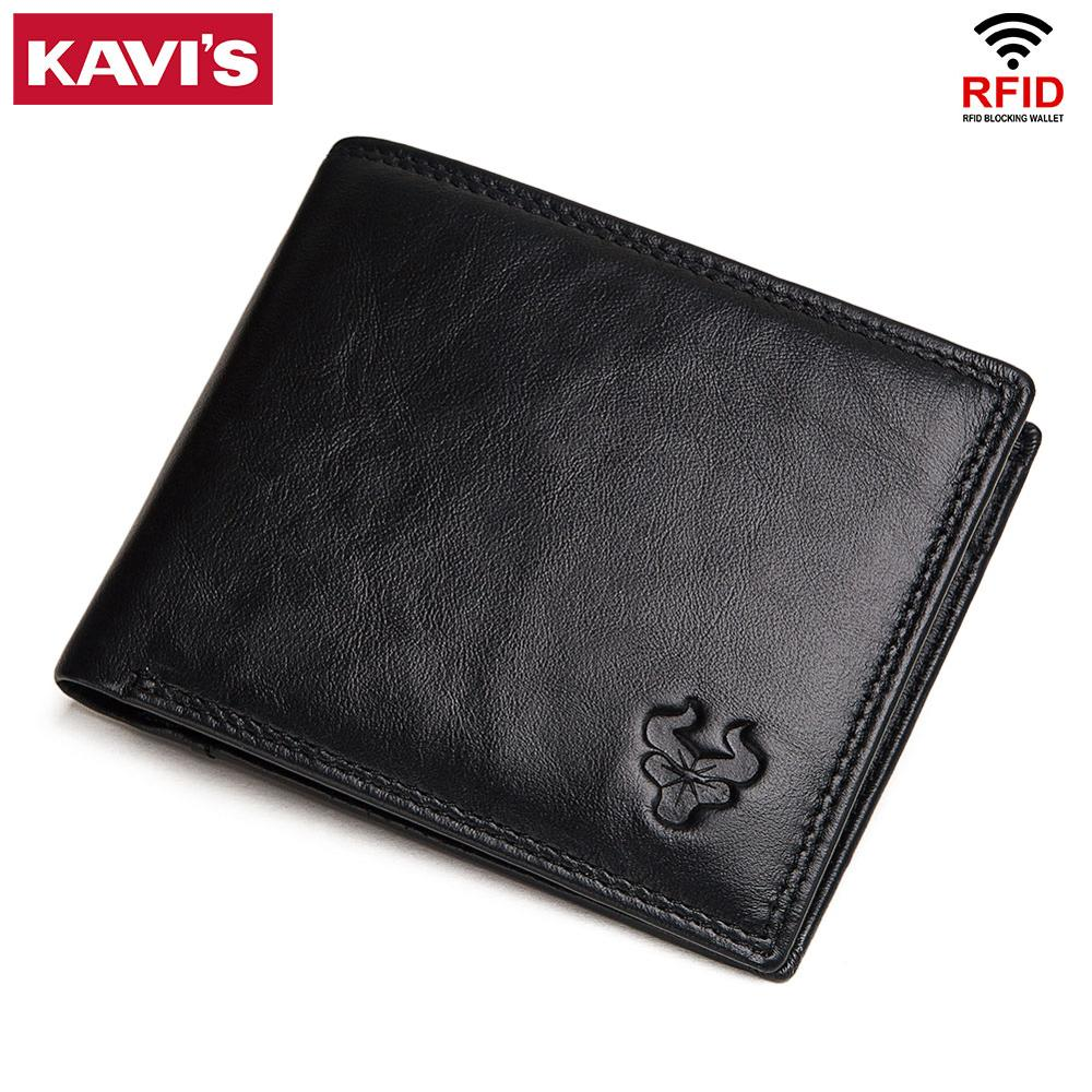 KAVIS Cow Genuine Leather Men Wallets With Coin Pocket Small Male Purse Mini Function Brown Genuine Leather With Card Holders