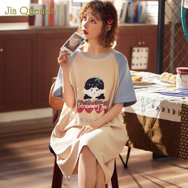 Night Dress Long Shirt Homedress Night Shirt Sleepwear Plus Size Night Gown Short Sleeve Fashion Girl Night Wear Night Gown
