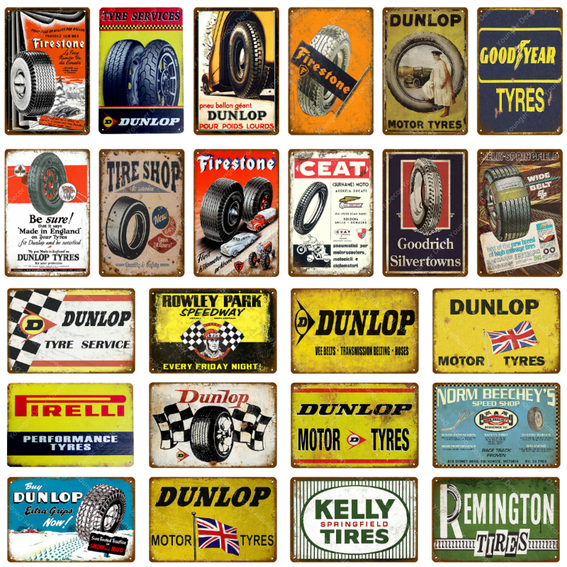 Motor Tire Metal Signs Vintage Plaque Retro Tin Sign Tyre Wall Decor For Garage Bar Pub Man Cave Iron Painting Decorative Plate(China)