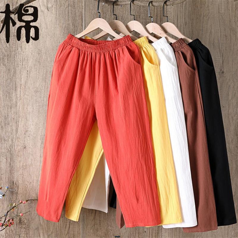 Oversize Women Elastic Waist Ankle Pants Casual Cotton and Linen Pants Loose Capri Harem Trousers Female Summer Solid Color Pant