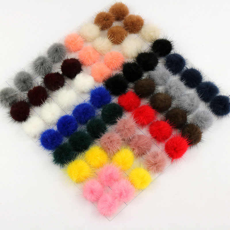 2PCS 3cm Faux Fur Ball Pom Needlework Pompoms For Women Jewelry Child Winter Hat Cap Shoes Decor High Quality DIY Craft Supplies