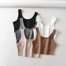 sexy women summer crop tops sleeveless short cotton u collar knitted bar cheap AOWOFS CN(Origin) Polyester Ages 18-35 Years Old Tank Tops DF-3597 cc NONE Sexy Club Solid