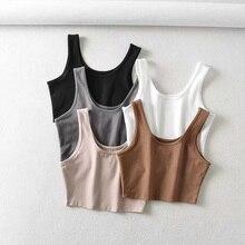sexy women summer crop tops sleeveless short cotton u collar knitted bar