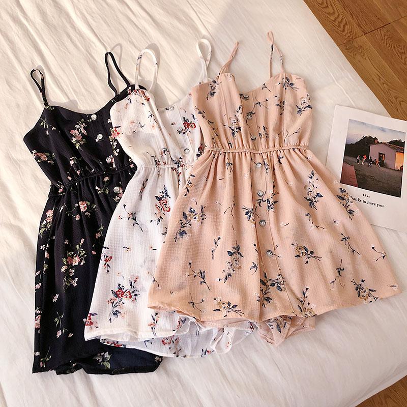 Women Fashion Summer Cloths Printed V-neck High Waist Strap Jumpsuit Playsuit