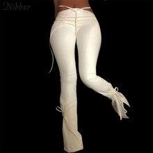 Nibber – pantalon Bandage creux en cuir PU pour femme, pantalon crayon, Style Y2K, à la mode, de rue, collection automne-hiver 2020