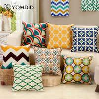 45*45cm Fundas de cojín estilo mediterráneo decoración de olas decoración para el hogar almofadas para cojines de sofá Decorativos fundas de almohada
