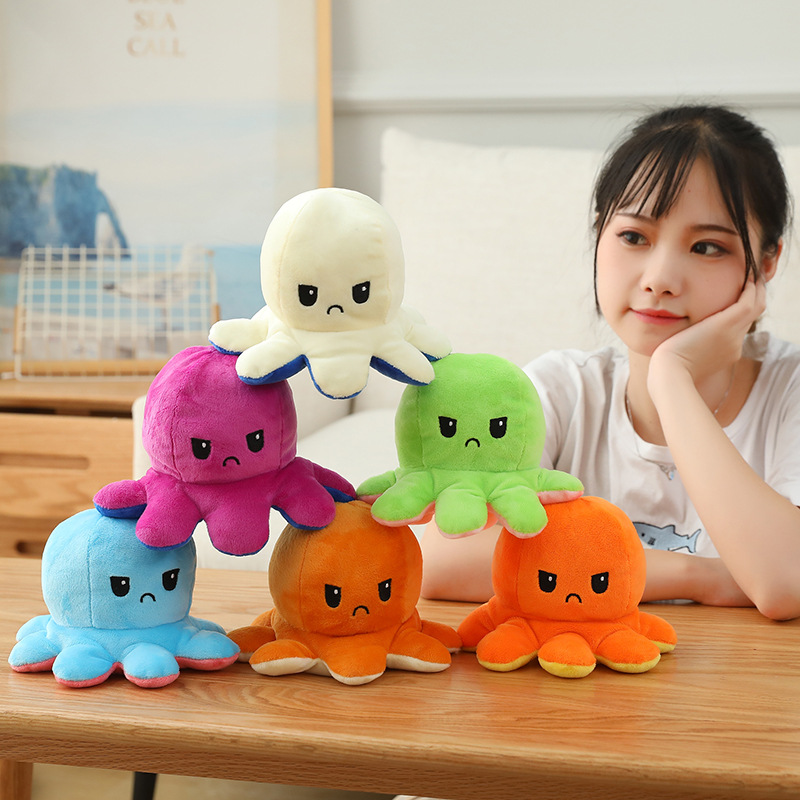 20 Color Double-Sided Flip Button Plush Toys Sea Life Kids Toys Cute S