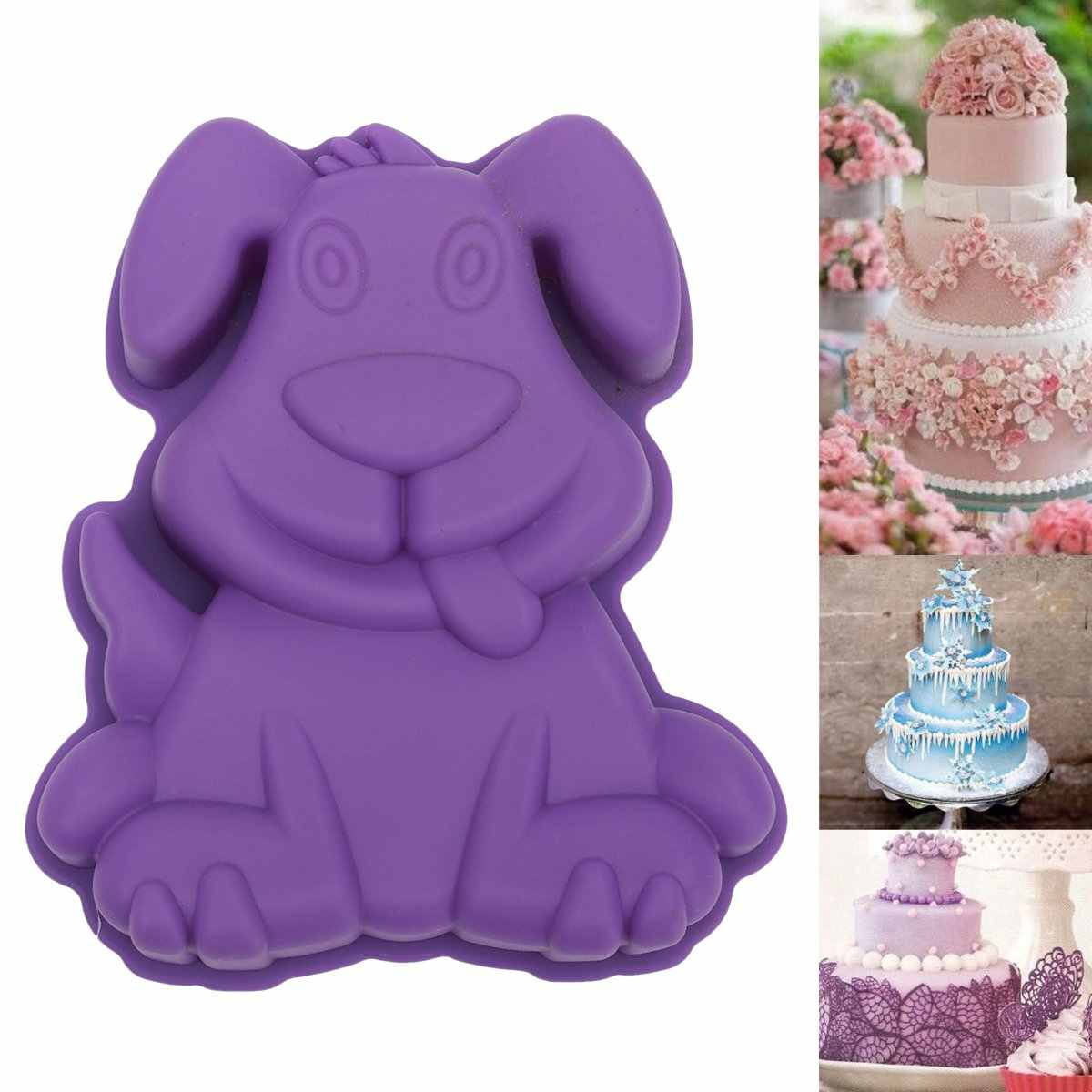 Silicone 3D Lovely Cartoon Dog Fondant Cake Mold Chocolate Mousse Mould Modelling Bakeware DIY Kitchen Baking Decorating Tools