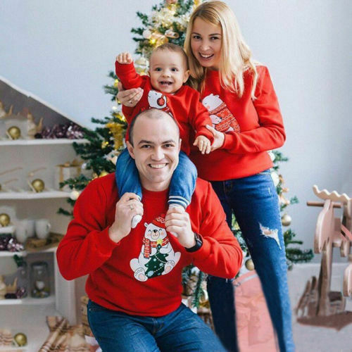 Emmababy Christmas Family Matching Women Men Kids Sweatshirt Sweater Families Cute Bear Xmas T-shirt Clothing