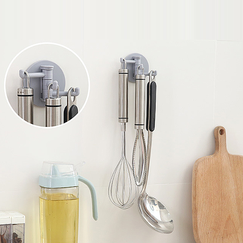 Creative 3 Branch Rotating Hook Seamless Adhesive Bathroom Paste Wall Home  Shower Bathroom Hooks Holder Kitchen Accessories