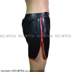 Nero Con Il Rosso Trim Sexy In Lattice Boxer shorts Con Tasche di Gomma Biancheria Intima shorts Mutande Pantaloni DK-0121