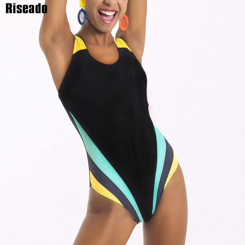 Riseado Sports One Piece Swimsuit 2020 Competition Swimwear Women Patchwork Swimming Suits for Women Racerback Bathing Suits