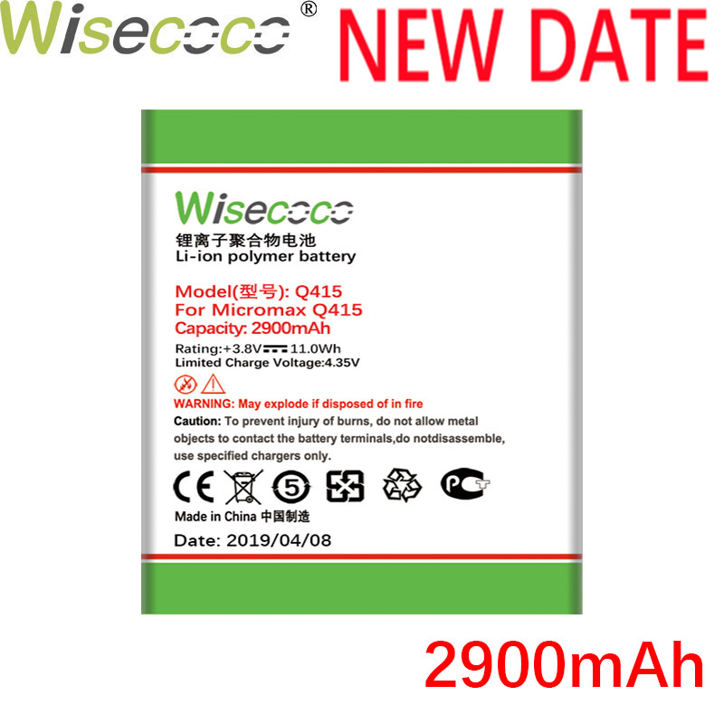 WISECOCO In Stock High Quality 2019 New 2900mAh Q415 Battery For Micromax Q415 Mobile Phone With Tracking Number