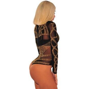 Sexy Gold Diamond Sheer Mesh Bodysuit Women Long Sleeve Turtleneck Autumn Outwear Body Tops Tee Party Club Jumpsuit Rompers 2