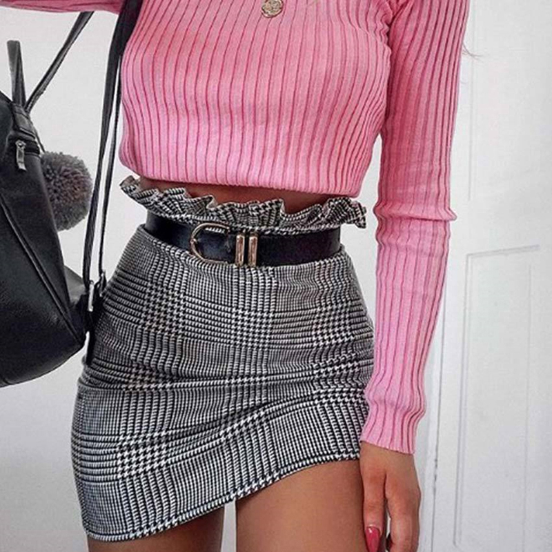 1pc New Fashion Style Plaid A-line Skirt Ruffles High Waist Skirt Women Mini Skirts Female New Summer Autumn Sexy Skirt Women