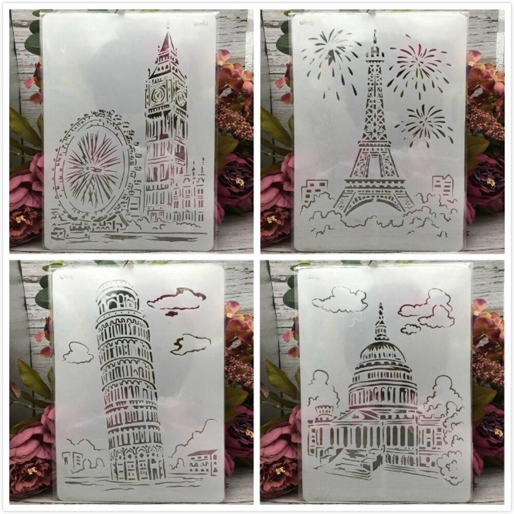 4Pcs 29*21cm A4 Famous Building London Paris DIY Layering Stencils Painting Scrapbook Coloring Embossing Album Decor Template