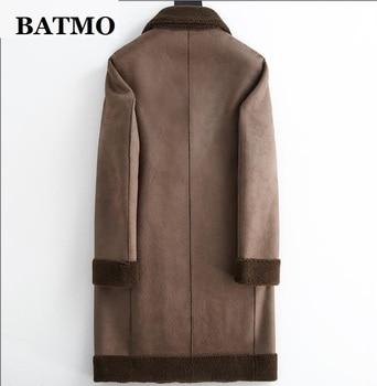 BATMO 2020 new arrival winter Genuine sheepskin&Cashmere trench coat men,men's fur parkas XK616