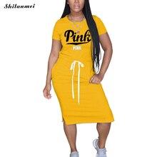 Женское свободное платье футболка с буквенным принтом розовое