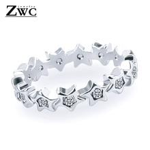 ZWCX Мода Шарм-звезда Циркон из нержавеющей стали кольца для мужчин и женщин Свадебные обручальные женские кристаллы кольцо унисекс ювелирные изделия