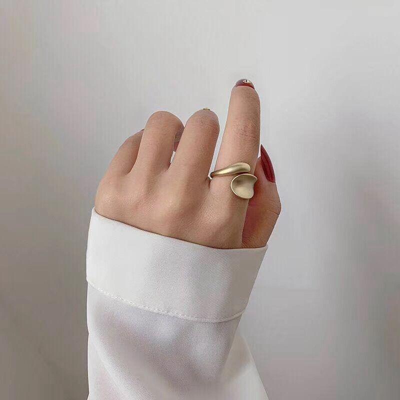 MENGJIQIAO yeni tasarım moda geometrik altın renk yüzükler kadınlar için mat Metal ayarlanabilir orta parmak Knuckle yüzük takı hediye