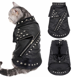 Leather Cat Jacket Warm Dogs Cat Clothes Coat Autumn Winter Pet Clothing Puppy Kitten Outfits Costumes for Chihuahua Yorkshire