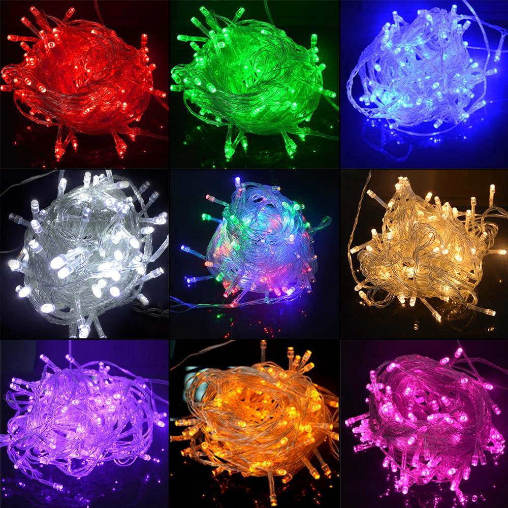 10m 100leds led string luz ac220v ac110v 9 cores festão lâmpadas à prova dwaterproof água ao ar livre festa guirlanda feriado decoração de natal