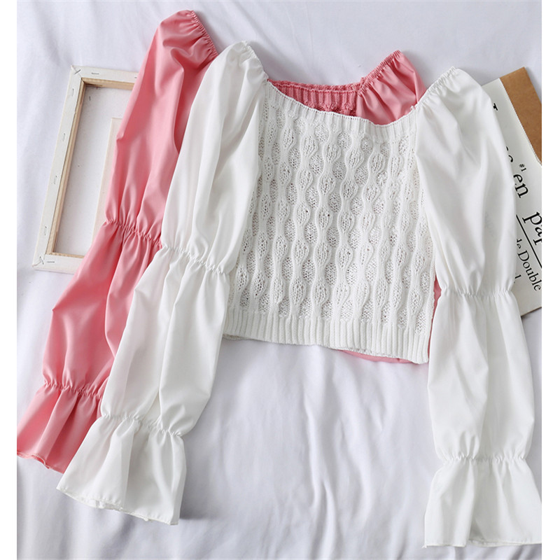 New Spring Women Slash neck Knitted Pullovers Chiffon Patchwork Sweater Female Bottoming Flare Sleeve Knitwear Short Tops AB1776|Pullovers|   - AliExpress