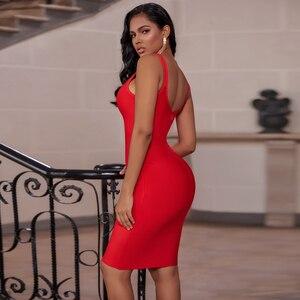 Image 3 - Ocstrade vermelho bandage vestido 2019 recém chegados outono inverno midi bandagem vestido sexy cinta de espaguete bodycon clube vestido de festa