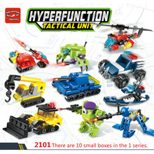 Enlightenment Hypervariable Mobile Military Police Engineering Fire Robot Intelligence Building Block Children Toy Gift 10 in 1 artificial intelligence in civil engineering