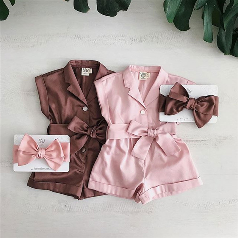 1-6Y Baby Girls Clothes Sleeveless Turn-down Collar One-Pieces Romper Solid Color Girls Jumpsuit Overalls Children Clothing