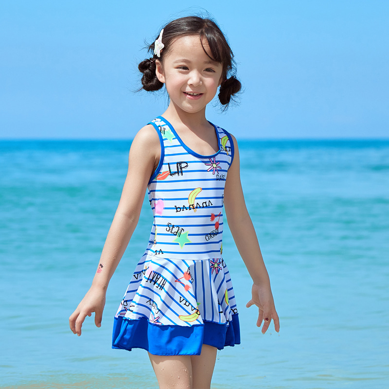 KID'S Swimwear Girls Korean-style One-piece Princess Dress-Baby Cute Tour Bathing Suit GIRL'S Students Bubble Hot Spring Swimwea