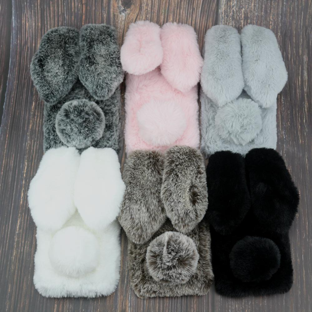 <font><b>Rabbit</b></font> Fur Case For <font><b>Xiaomi</b></font> Mi Max 3 2 Mi Mix 3 2S 2 Play Pocophone F1 <font><b>Redmi</b></font> 3S 3X 4A 4X 5 5A <font><b>6</b></font> 6A 7 Y3 Pro Plus Bunny Doll Cover image