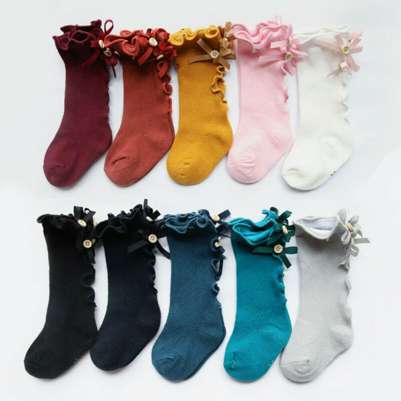 Baby Girls Kids Spanish Romany Knee High Socks Bowknot Party School Stockings Girls 3/4 Knee Satin Bow Ribbon High Socks 1-3T