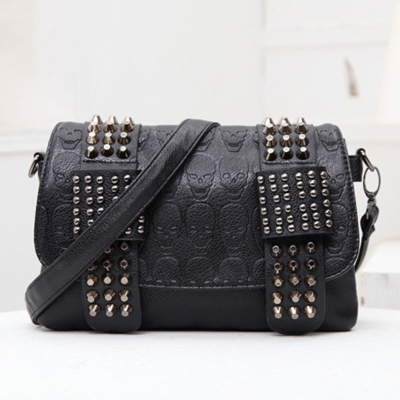 Clutch Purse Small Rivet Shoulder-Bag Vintage Handbag Messenger Crossbody Girls Women