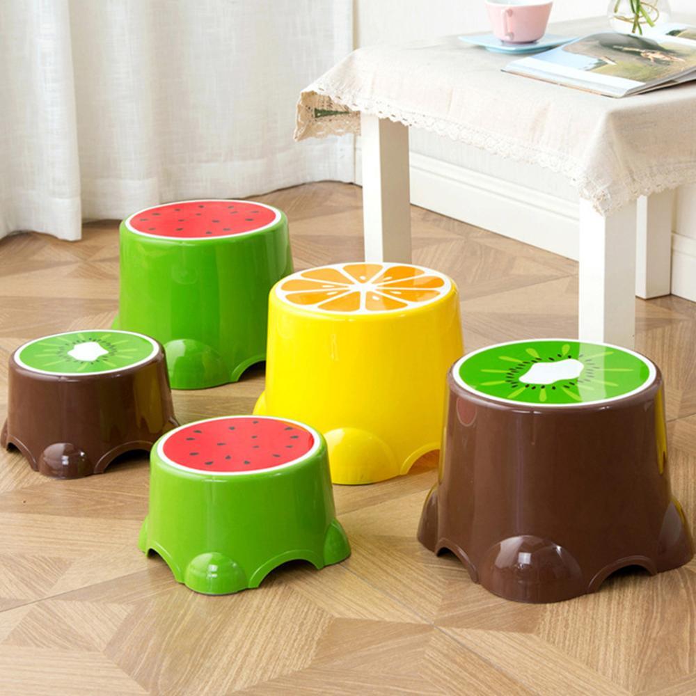 4 cores adorável fezes padrão de frutas sala de estar não-deslizamento banco de banho criança fezes mudando sapatos fezes